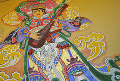 Wall Mural at Buddhist Temple Royalty Free Stock Image