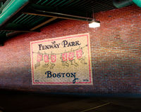 Wall Mural inside Fenway Park, Boston, MA. Stock Photo