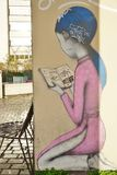 Wall mural paintings by famous French street artist Seth Globepainter (Julien Malland) at the Parc de Belleville in Paris Royalty Free Stock Photo