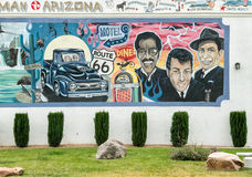 Wall mural, the Rat Pack. Dean Martin, Sammy Davis Jr and Frank Sinatra on old Route 66 wall mural Royalty Free Stock Photos