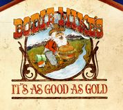 Wall Mural - Bodie Mikes Sign. Wall mural sign - Bodie Mike´s - It´s as good as gold. Lee Vining Bar, California Stock Image
