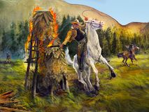Wall Mural, Wild West, Horse Rider Attack Fire Royalty Free Stock Photo