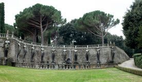 Wall With Muses Pegasus Fountain Villa Lante Italy Stock Image