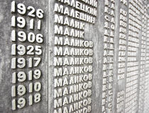 Wall of names Royalty Free Stock Photo