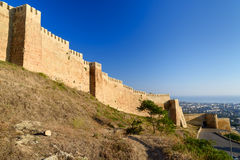 Wall of Naryn-Kala fortress and view of Derbent city. Wall of Naryn-Kala fortress View of Derbent city. Republic of Dagestan, Russia Royalty Free Stock Photo