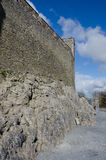 Wall Near the Entrance of Cahir Castle in Ireland. This is one of the massive walls of the Cahir Castle in county Tipperary in Ireland Stock Images