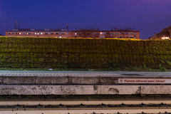 Wall near railway. Night view of a wall near the railway in rome, italy Stock Photography