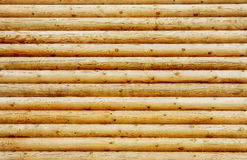 Wall from new pine logs Royalty Free Stock Photo