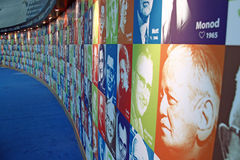 Wall of Nobel images. An image of a wall showing all the Nobel prize winners of yesteryears royalty free stock photos