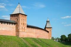 The wall of the Novgorod Kremlin between Knyazhaya and Spasskaya towers. Veliky Novgorod, Russia. The wall of the Novgorod Kremlin between Knyazhaya and stock image