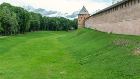The wall of the Novgorod Kremlin from the outside royalty free stock photos