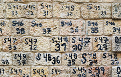 Wall with numbers Royalty Free Stock Images
