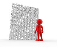 Wall of numbers. 3d people - human character on a wall of numbers. This is a 3d render illustration Royalty Free Stock Photo
