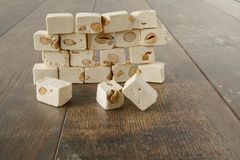 A wall of nut nougat bar traditional sweet candy royalty free stock photography