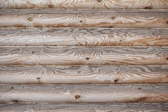 Wall Of Hewn Logs With Natural Wood Pattern Royalty Free Stock Images