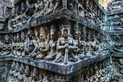 Wall Of Terrace Of The Leper King, Angkor Wat, Cambodia Royalty Free Stock Photos