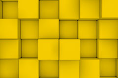 Wall Of Yellow Cubes Royalty Free Stock Photos
