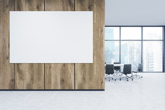 Wall in office, window. Empty office, wooden wall with white poster in front of panoramic window, Singapore view, table for meetings. Concept of new office. 3D stock illustration