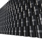 Wall of oil barrels in perspective view Royalty Free Stock Photos