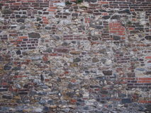 Wall of a an old bastion. Of a Vysehrad complex (Prague, 17th century). Combination of bricks and stones royalty free stock photo