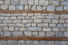 Wall. Old brickwork and wooden beams royalty free stock photography