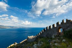 The wall of old Castle in Alanya Stock Photos