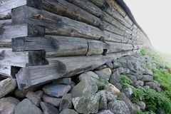 Wall of the old churchyard on Kizhi island in Russia royalty free stock photo