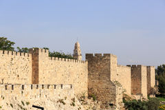 Wall of old city of Jerusalem Stock Photos