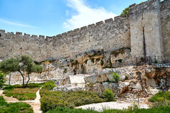 Wall of the old city of Jerusalem. The wall of the old city of Jerusalem, built in the 16th century Royalty Free Stock Photos