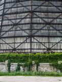 The wall of the old cooling tower of the cogeneration plant Stock Photos