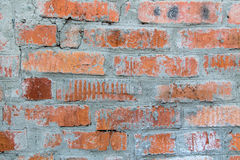 Wall. Old cracked brick red wall stock image