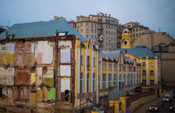 The wall of the old destroyed house. In Moscow Stock Photos