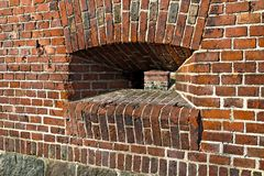 The wall of the old German Fort with embrasure Royalty Free Stock Photos