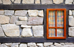 Wall of an old house with a window Royalty Free Stock Photography