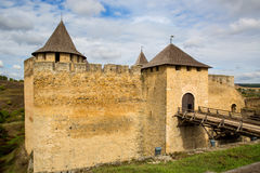 Wall of old Khotyn castle Stock Photo