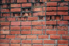 Wall with the old masonry of red brick stock photo