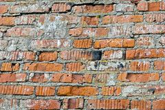 Wall of old red brick with remains of light-coloured plaster Stock Photography