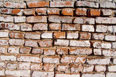 Wall from an old red brick. Royalty Free Stock Image