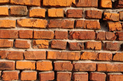 Wall from an old red brick. Stock Photos