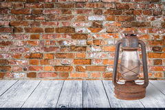 Wall of old red bricks. Background. View from dark wooden gangwa Stock Images
