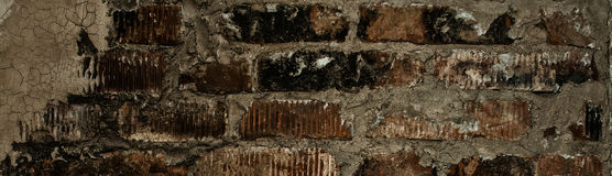 Wall of old red bricks Royalty Free Stock Photo