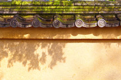 Wall with old tiled roof Stock Photos