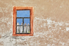 Wall of old ukrainian house with a window Stock Photography