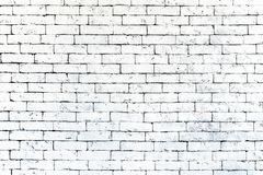 Wall of old white brick, grunge style background texture, can use for design. stock image