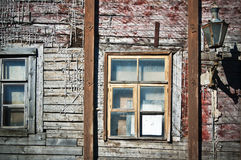 Wall of the old wooden house requiring restoration Royalty Free Stock Images