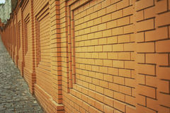 Wall of orange brick Royalty Free Stock Images