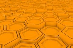 Wall of orange hexagons Stock Photo