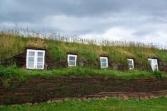 Wall of original turf house, Glaumbaer, Northern Iceland Royalty Free Stock Photography