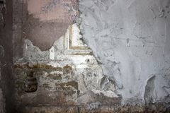 Wall with ornament, plastered with concrete Stock Photography