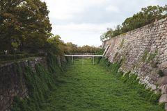 Wall in the osaka castle royalty free stock photography